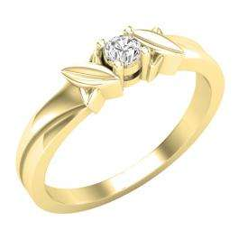 0.12 Carat (ctw) 18K Yellow Gold Round Diamond Ladies Solitaire Bridal Engagement Promise Ring