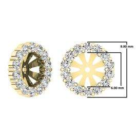 0.65 Carat (ctw) 14K Yellow Gold Round Cut Diamond Removable Jackets For Stud Earrings