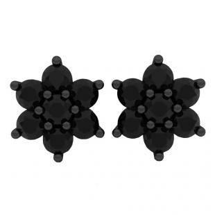 2.45 Carat (ctw) Black Rhodium Plated 18K White Gold Round Black Diamond Ladies Flower Stud Earrings