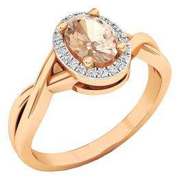 18K Rose Gold 7X5 MM Oval Cut Morganite & Round Diamond Ladies Bridal Halo Engagement Ring