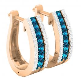 0.70 Carat (ctw) 14K Rose Gold Round Blue & White Diamond Ladies Huggies Hoop Earrings 3/4 CT