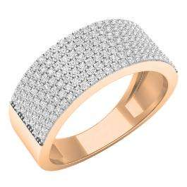 0.48 Carat (ctw) 10K Rose Gold Round White Diamond Ladies Anniversary Wedding Band Ring 1/2 CT