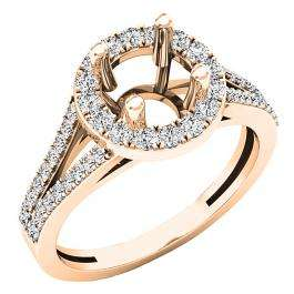 0.45 Carat (ctw) 18K Rose Gold Round Diamond Split Shank Bridal Semi Mount Engagement Ring 1/2 CT