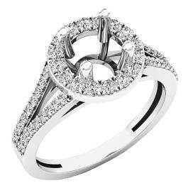 0.45 Carat (ctw) 18K White Gold Round Diamond Split Shank Bridal Semi Mount Engagement Ring 1/2 CT