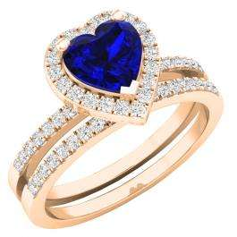 1.35 Carat (ctw) 10K Rose Gold Heart Cut Blue Sapphire & Round Diamond Bridal Engagement Ring Set