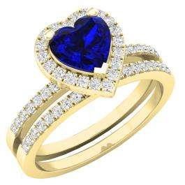 1.35 Carat (ctw) 10K Yellow Gold Heart Cut Blue Sapphire & Round Diamond Bridal Engagement Ring Set