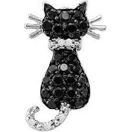 0.40 Carat (ctw) 10K White Gold Round Black And White Diamond Cat Pendant (Chain Included)