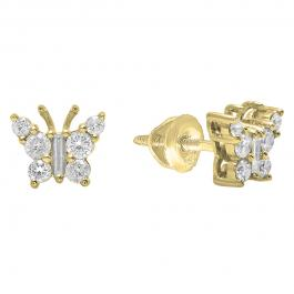 0.48 Carat (ctw) 14K Yellow Gold Round & Baguette Cut Diamond Ladies Butterfly Stud Earrings 1/2 CT