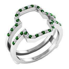 10K White Gold Round Tsavorite & White Diamond Ladies Wedding Band Enhancer Guard Double Ring