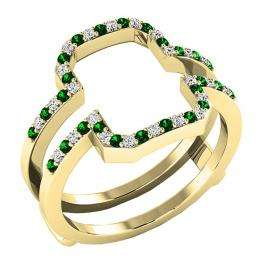 10K Yellow Gold Round Tsavorite & White Diamond Ladies Wedding Band Enhancer Guard Double Ring