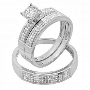 0.30 Carat (ctw) 14K White Gold Round Diamond Men & Women's Engagement Trio Bridal Set 1/3 CT
