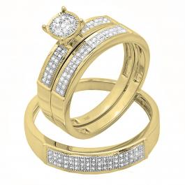 0.30 Carat (ctw) 14K Yellow Gold Round Diamond Men & Women's Engagement Trio Bridal Set 1/3 CT