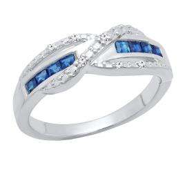 Sterling Silver Princess Blue Sapphire & Round White Diamond Swirl Style Ladies Engagement Ring