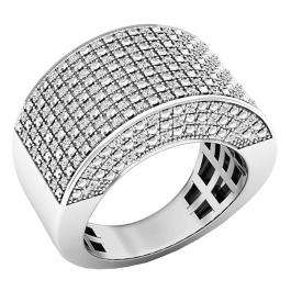 0.50 Carat (ctw) Platinum Plated Sterling Silver Round Diamond Men's Hip Hop Pinky Ring 1/2 CT