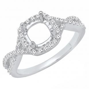 0.35 Carat (ctw) 18K White Gold Round Diamond Ladies Engagement Ring 1/3 CT (No Center Stone)