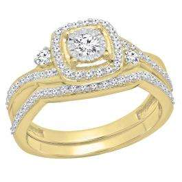 0.55 Carat (Ctw) 14K Yellow Gold Round White Diamond Ladies Swirl Bridal Engagement Ring Set 1/2 CT