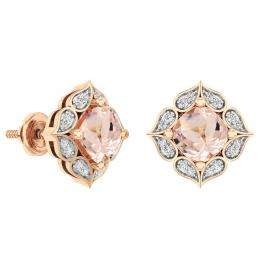 10K Rose Gold Cushion Cut 6 MM Morganite & Round Cut White Diamond Ladies Stud Earrings