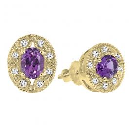 14K Yellow Gold 7X5 MM Each Oval Cut Amethyst & Round Cut White Diamond Ladies Stud Earrings