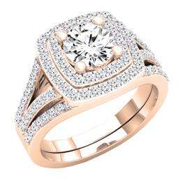2.65 Carat (Ctw) 10K Rose Gold Round Cut Cubic Zirconia Ladies Halo Style Engagement Ring Set