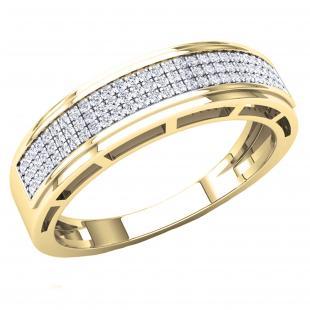 0.25 Carat (Ctw) 10K Yellow Gold Round White Diamond Men's Hip Hop Anniversary Wedding Band 1/4 CT