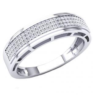0.25 Carat (Ctw) 14K White Gold Round White Diamond Men's Hip Hop Anniversary Wedding Band 1/4 CT