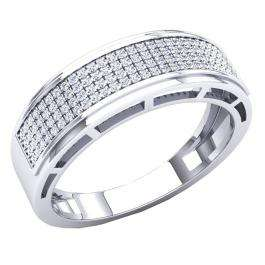 0.30 Carat (Ctw) 10K White Gold Round White Diamond Men's Hip Hop Anniversary Wedding Band 1/3 CT