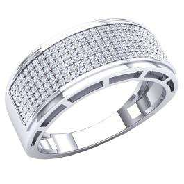 0.50 Carat (Ctw) 10K White Gold Round White Diamond Men's Hip Hop Anniversary Wedding Band 1/2 CT