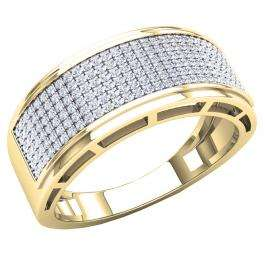0.50 Carat (Ctw) 10K Yellow Gold Round White Diamond Men's Hip Hop Anniversary Wedding Band 1/2 CT