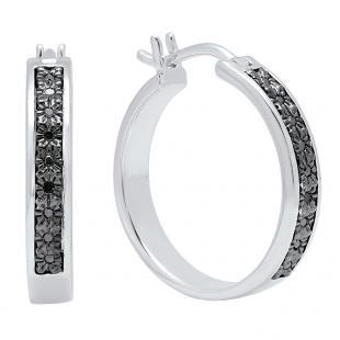 0.08 Carat (ctw) Sterling Silver Round Cut Black Diamond Ladies Hoop & Huggie Earrings