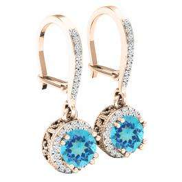18K Rose Gold 5.5 MM Round Blue Topaz & Diamond Ladies Halo Style Millgrain Dangling Drop Earrings