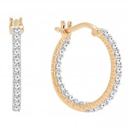 0.45 Carat (ctw) 10K Yellow Gold Round White Diamond Fine In And Out Hoop Earrings 1/2 CT