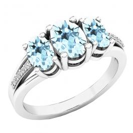 Sterling Silver Oval Cut Aquamarine & Round Cut Diamond Bridal 3 Stone Engagement Ring