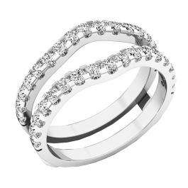 1.60 Carat (ctw) 10K White Gold Round White Cubic Zirconia Ladies Wedding Enhancer Double Ring