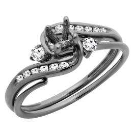 0.28 Carat (ctw) Black Rhodium Plated 10K White Gold Round Diamond Bridal Semi Mount Ring Set 1/4 CT