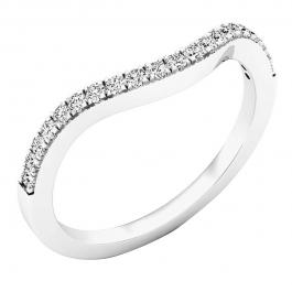 0.20 Carat (cttw) Round Diamond Ladies Anniversary Wedding Contour Stackable Band 1/5 CT, 10K White Gold
