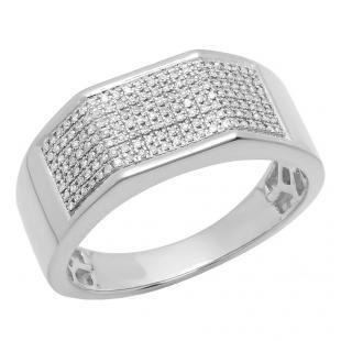 0.24 Carat (ctw) 10K White Gold Round White Diamond Men's Micro Pave Hip Hop Wedding Band 1/4 CT