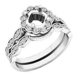 0.30 Carat (ctw) 18K White Gold Round Diamond Ladies Semi Mount Ring Set 1/3 CT (No Center Stone)