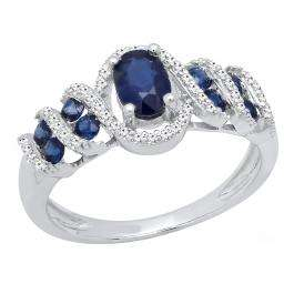 Sterling Silver 6X4 MM Oval & Round Cut Blue Sapphire And Round Diamond Ladies Engagement Ring