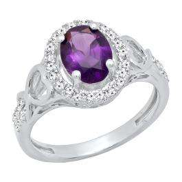18K White Gold 8X6 MM Oval Amethyst & Round White Diamond Ladies Bridal Engagement Ring