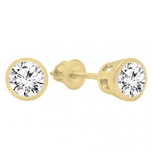 1.50 Carat (ctw) 14K Yellow Gold Round Cubic Zirconia Ladies Solitaire Stud Earrings 1 1/2 CT
