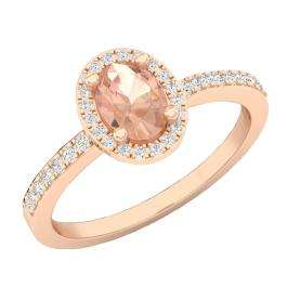 18K Rose Gold 7X5 MM Oval Morganite & Round White Diamond Ladies Bridal Halo Engagement Ring