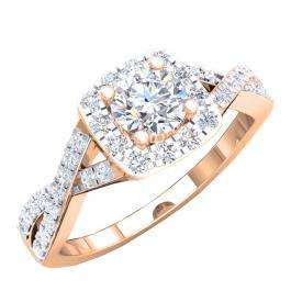 1.55 Carat (ctw) 10K Rose Gold Round Cut Cubic Zirconia CZ Bridal Halo Engagement Ring 1/2 CT