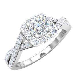 1.55 Carat (ctw) 10K White Gold Round Cut Cubic Zirconia CZ Bridal Halo Engagement Ring 1/2 CT