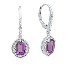 18K White Gold 7X5 MM Each Emerald Amethyst & Round White Diamond Ladies Dangling Drop Earrings