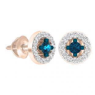 0.25 Carat (ctw) 18K Rose Gold Round Blue & White Diamond Ladies Halo Stud Earrings 1/4 CT