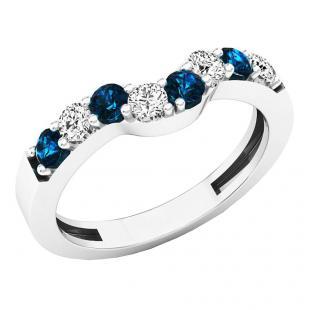 0.50 Carat (ctw) 18K White Gold Round Blue & White Diamond Ladies Wedding Band Guard Ring
