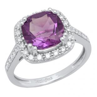 14K White Gold 9X9 MM Cushion Amethyst & Round White Diamond Bridal Halo Engagement Ring