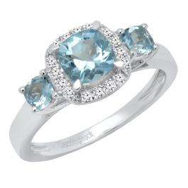 18K White Gold Cushion Aquamarine & Round Diamond Bridal 3 Stone Engagement Ring