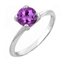 Sterling Silver 10 MM Round Amethyst Ladies Solitaire Bridal Engagement Ring