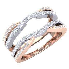 0.40 Carat (ctw) 10K White & Rose Gold Two Tone Round Diamond Ladies Anniversary Wedding Band Enhancer Guard Double Chevron Ring